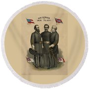 Generals Jackson Beauregard And Lee Round Beach Towel by War Is Hell Store