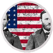 Generals Sherman And Grant  Round Beach Towel
