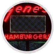 Gene's Hamburgers  Round Beach Towel