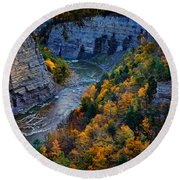 Genesee River Gorge II Round Beach Towel