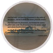 Genesis 1 6-8 Let There Be A Firmament In The Midst Of The Waters Round Beach Towel