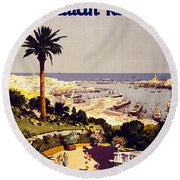 Genoa And The Italian Rivera Vintage Poster Restored Round Beach Towel