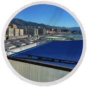 Genova Town Landscape From Abandoned Office Building Roof Round Beach Towel