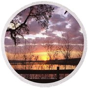 Gentle Morning In The Grove Round Beach Towel