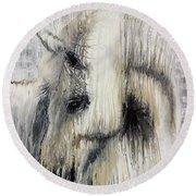 Gentle White Horse Round Beach Towel