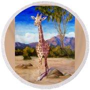Geoffrey Giraffe Round Beach Towel