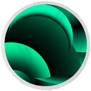 Geometric Abstract In Green Round Beach Towel