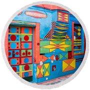 Geometric Art In Burano Round Beach Towel