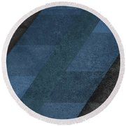 Geometric Blue Round Beach Towel