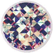 Geometric Grunge Pattern Round Beach Towel