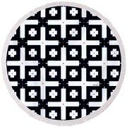 Geometric In Black And White Round Beach Towel