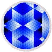 Geometric In Blue Round Beach Towel