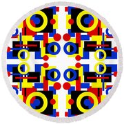 Geometric Shapes Abstract Square 3 Round Beach Towel