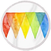 Geometric Watercolor Pattern Rainbow Triangles Round Beach Towel