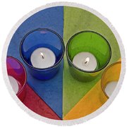 Geometrical Shapes, Colours And Candles Round Beach Towel
