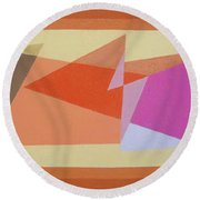 Geometry Shapes And Colors 6 Round Beach Towel