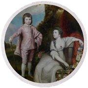 George Capel, Viscount Malden, And Lady Elizabeth Capel Round Beach Towel