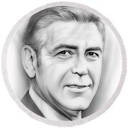 George Clooney Round Beach Towel