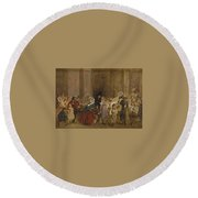 George Elgar Hicks   Sketch Of The General Post Office  One Minute To Six  1860 Round Beach Towel