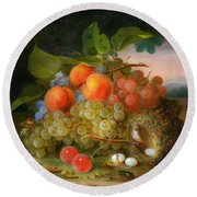 George Forster  Still Life With Fruit And A Birds Nest Round Beach Towel