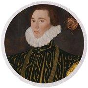 George Gower Portrait Of Thomas Slingsby 1556  1579 1577 Round Beach Towel