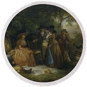 George Morland   The Anglers  Repast Round Beach Towel