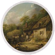 George Morland  The Bell Inn Round Beach Towel