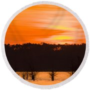 George T. Bagby State Park Sunset Round Beach Towel