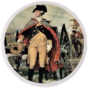 George Washington At Dorchester Heights Round Beach Towel