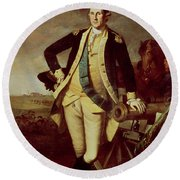 George Washington At Princeton Round Beach Towel by Charles Willson Peale