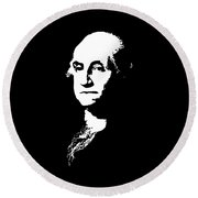 George Washington Black And White Round Beach Towel