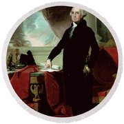 George Washington Round Beach Towel by Gilbert Stuart