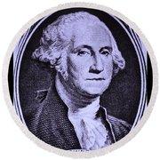 George Washington In Light Purple Round Beach Towel