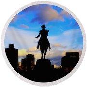 George Washington Statue Sunset - Boston Round Beach Towel
