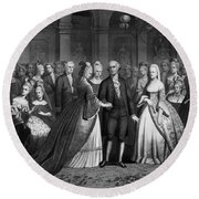 George Washington's Reception At White House - 1776  Round Beach Towel