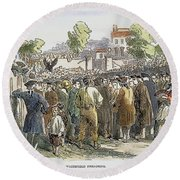 George Whitefield /n(1714-1770). English Evangelist, Preaching To A Crowd: Engraving, 19th Century Round Beach Towel