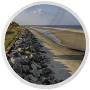 Georgia Atlantic Sea Barrier Round Beach Towel