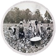 Georgia Cotton Field - C 1898 Round Beach Towel