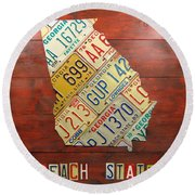 Georgia License Plate Map Round Beach Towel