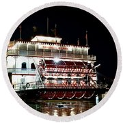 Georgia Queen Riverboat On The Savannah Riverfront Round Beach Towel