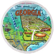 Georgia Usa Cartoon Map Round Beach Towel