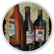 Georgian Wine Fresco Round Beach Towel