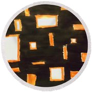 Geosequence In Black And Copper Round Beach Towel