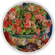 Geraniums And Cats Round Beach Towel by Pierre Auguste Renoir