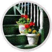 Geraniums And Pansies On Steps Round Beach Towel
