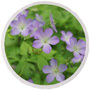 Geraniums Spring Wildflowers Round Beach Towel