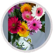 Gerbera Daisy Bouquet Round Beach Towel