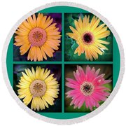 Gerbera Daisy Collage In Square Round Beach Towel