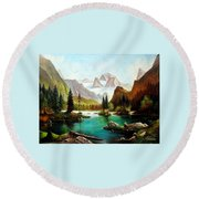 German Alps Round Beach Towel