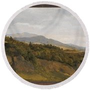 German Landscape With View Towards A Broad Valley , Fritz Petzholdt Round Beach Towel